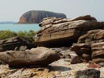 Côte d'île escarpée, Kimberley, Australi du nord-ouest Photographie stock libre de droits