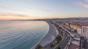 Côte d'azur sur le coucher du soleil à Nice, Français Rivera banque de vidéos