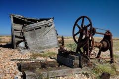 Côte de dungeness de ruine d'épave de hutte de pêche Images stock