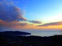 Côte de Palinuro avec le coucher du soleil images libres de droits