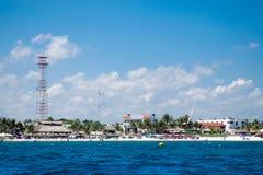 Côte de Puerto Morelos dans le Maya de la Riviera photos stock