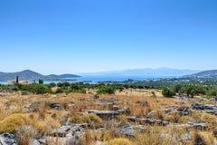 Côte du haut d'une colline en Crète Images stock