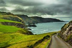 Côte et falaises atlantiques spectaculaires à la tête de St Abbs en Ecosse photographie stock libre de droits