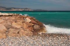 Côte et golfe pierreux et de caillou Gentil, France photo stock