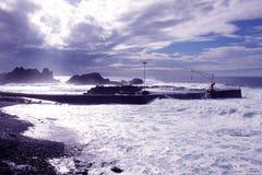 Côte et soleil de plage Photos stock