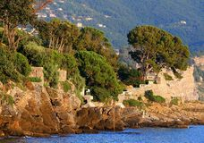 Côte italienne avec des ruines et des arbres Image stock
