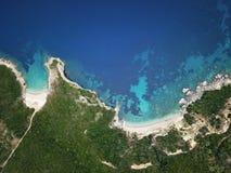 Côte pittoresque d'île de Corfou Bel horizontal de mer Image libre de droits