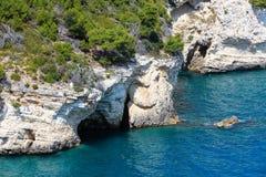 Côte rocheuse d'été, Gargano, Puglia, Italie Photographie stock libre de droits