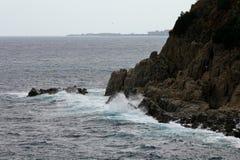 Côte rocheuse Lloret de Mar, Espagne Photos stock