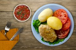 Côtelette avec des pommes de terre d'un plat Images libres de droits