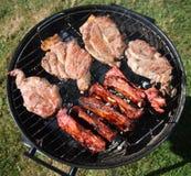 Côtelettes de porc de BBQ et nervures d'agneau Photos stock