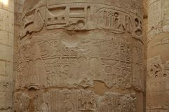 Cölumn with Hieroglyphes. Column in the Great Hypostyle hall in Karnak Temple Stock Image