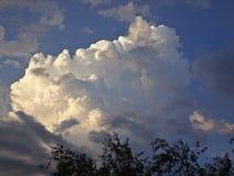 Cúmulo e nuvens de cirro contra o céu azul fotos de stock