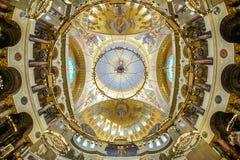 Cúpula de St naval Nicholas Cathedral en Kronstadt Foto de archivo
