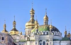 Cúpulas douradas da catedral de Kiev Pechersk Lavra Imagem de Stock Royalty Free