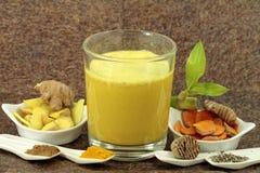 Cúrcuma e outros ingredientes para o leite dourado imagens de stock royalty free
