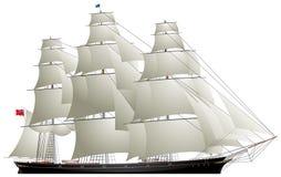Cążki żeglowania statek, Herbaciany cążki royalty ilustracja