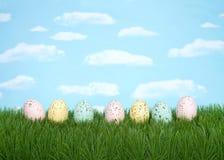 Cętkowani Wielkanocni jajka na trawy nieba tle z rzędu obrazy stock