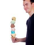c奶油显示冰人骄傲地挖出六个年轻人 库存图片