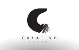 C掠过的信件商标 与刷子str的黑刷子书信设计 免版税图库摄影