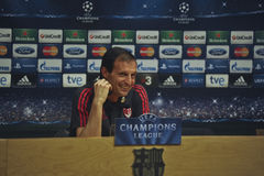 A.C. 米兰教练Massimiliano Allegri在新闻招待会在巴塞罗那 免版税图库摄影