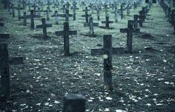 C'è abbondanza delle pietre tombali nel cimitero Immagine Stock Libera da Diritti