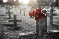 C'è abbondanza delle pietre tombali nel cimitero Fotografia Stock