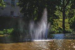 C'è una bella fontana in mezzo al lago Fotografia Stock Libera da Diritti