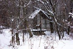 33c 1月横向俄国温度ural冬天 水井老乡下与滑轮和桶 基辅地区乌克兰 库存图片