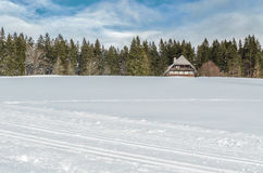 33c 1月横向俄国温度ural冬天 假日村庄在森林 免版税库存照片