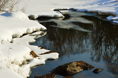 33c 1月横向俄国温度ural冬天 冰河 水Nonfreezing补丁在冰川覆盖的表面的 库存照片