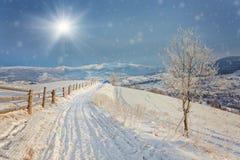 33c 1月横向俄国温度ural冬天 包括的路雪 库存照片