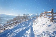 33c 1月横向俄国温度ural冬天 包括的路雪 免版税库存照片