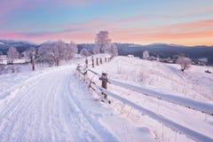 33c 1月横向俄国温度ural冬天 包括的路雪 库存图片