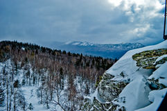 33c 1月横向俄国温度ural冬天 国家公园Taganay,俄国 库存图片