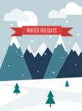 33c 1月横向俄国温度ural冬天 圣诞节背景与山、雪和题字寒假 库存图片