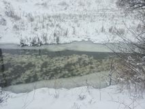 33c 1月横向俄国温度ural冬天 在冬天暴风雪中的一条小河 与一条河的明信片在冬天 低温 冻结河 库存照片