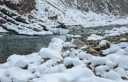 33c 1月横向俄国温度ural冬天 山河从岩石流动 雪和山河 库存图片
