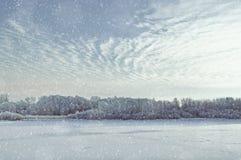 33c 1月横向俄国温度ural冬天 斯诺伊沿冻河的冬天树日落的 免版税库存照片