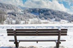 33c 1月横向俄国温度ural冬天 有雪的山盖子 长凳在焦点 图库摄影