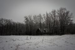 33c 1月横向俄国温度ural冬天 树和木房子 库存照片