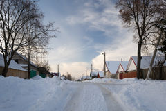 33c 1月横向俄国温度ural冬天 白俄罗斯语村庄 免版税库存照片