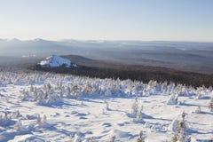 33c 1月横向俄国温度ural冬天 积雪的森林山脉Zyuratkul 库存图片