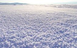 33c 1月横向俄国温度ural冬天 闪耀的雪原在阳光下,表面雪纹理 圣诞节自然本底 贝加尔湖湖 免版税库存照片