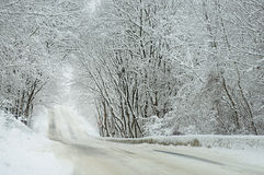 33c 1月横向俄国温度ural冬天 雪路 免版税库存图片