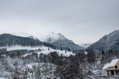 33c 1月横向俄国温度ural冬天 麸皮的山村,罗马尼亚语喀尔巴汗 图库摄影