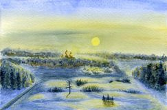 33c 1月横向俄国温度ural冬天 黎明、太阳和被点燃的雪 库存照片