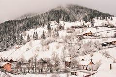 33c 1月横向俄国温度ural冬天 Beautifull在罗马尼亚语喀尔巴汗的冬天场面 免版税图库摄影