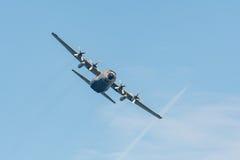 C-130 Hercules. Cargo plane in flight Stock Images