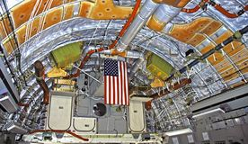 C-17 Globemaster jet interior. Interior view of military transport jet stock image
